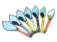 WINTUWAY CNC Aluminum Motorcycle Rearview Mirrors Blue Glass Rear View Side Mirror Universal