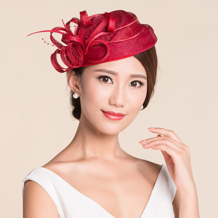 Ivory New Sinamay Ladies Church Feather Pillbox Hat