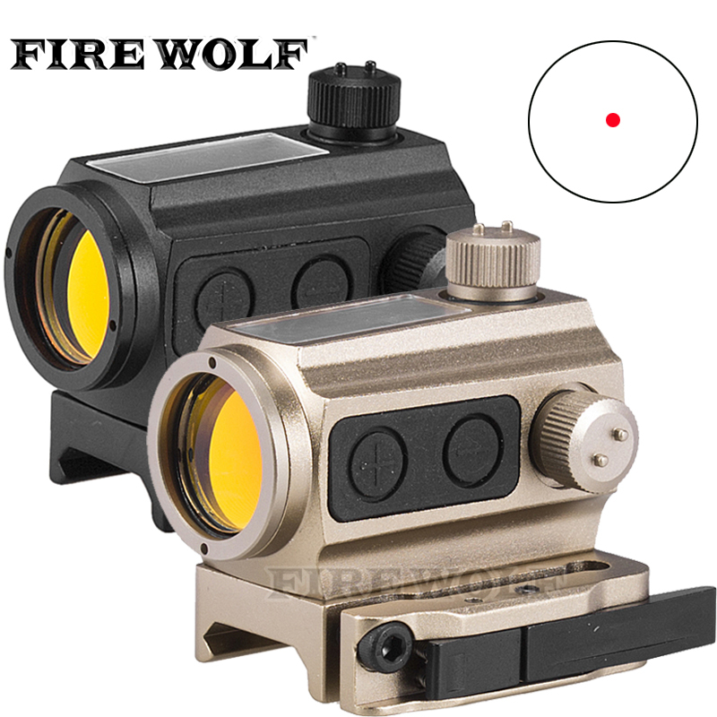 FIRE WOLF Tactical Solar Power 1x Red Dot Sight Scope QD Picatinny Rail Mount Hunting Shooting tactical trijicon mro style 1x red dot sight scope for high and low picatinny rail mount base hunting shooting m9159