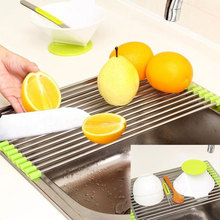 Folding Kitchen Stainless Steel Sink Rack  Storage vegetable drain foldable drying rack