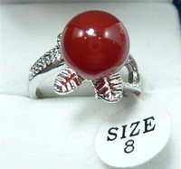 Wholesale Silver Plated Crystal Plated Flower 10mm Red Bead Ring 7 8 9 R015
