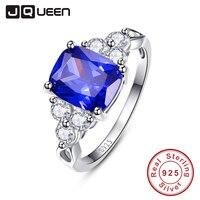 Elegant Rings Love Gift Tanzanite Blue Engagement Ring Silver 925 Rings CZ Women Size 6 7