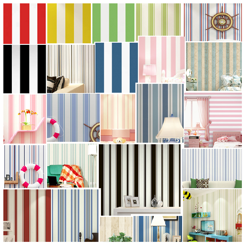 New Mediterranean blue simple black white vertical striped wallpaper TV back red yellow green pink children bedroom wall roll