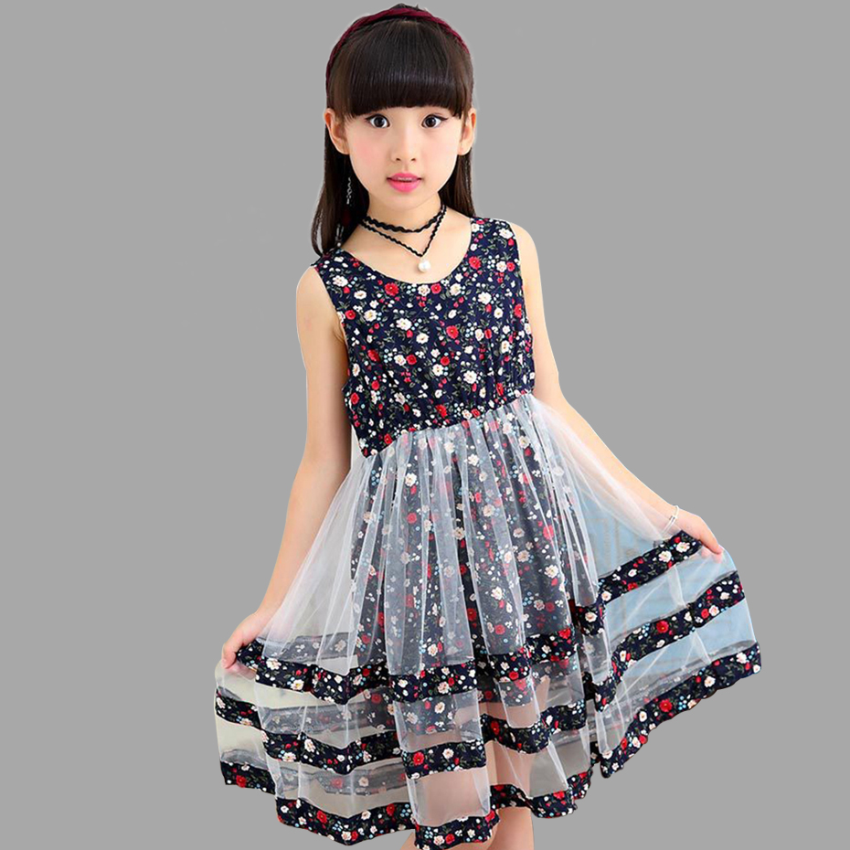 summer dresses for girls causal sleeveless floral girls