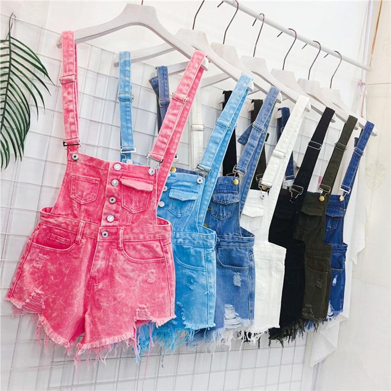 Women Summer Denim   Jeans   Hole Tassel Shorts Bib Pants Girls Preppy Style Suspenders High Waist Strap Pants