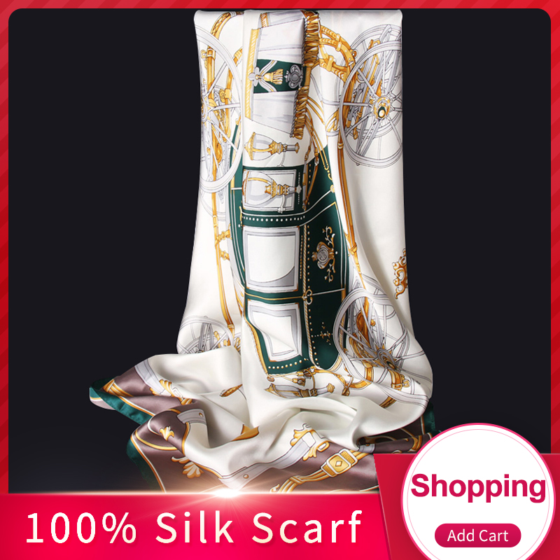 100% Silk Scarf Square Kvinner 2019 Luksus Hangzhou Silke Wraps Headscarves For Ladies Print Bandana Pure Real Silk Square Skjerf