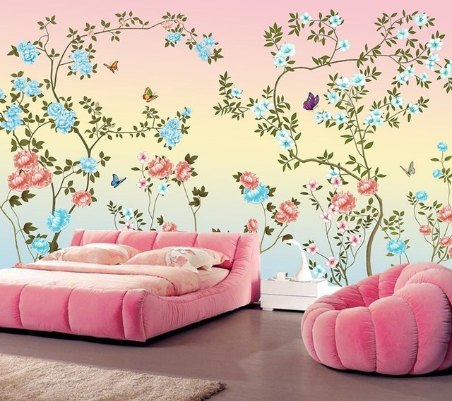 Custom Papel De Parede,Beautiful Hand Painted Flowers Wallpaper,restaurant  Dining Room Sofa Wall