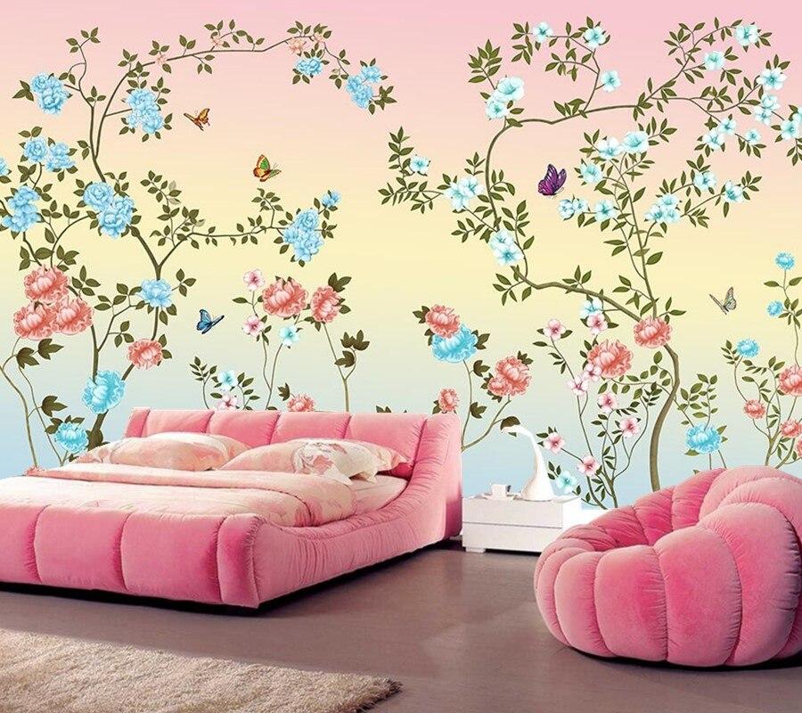 Personalizado papel de parede pintado m o flores papel for Papel pintado personalizado