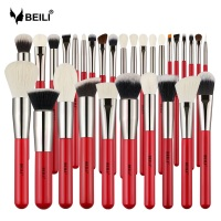 BEILI Red 30pcs Professional Makeup Brushes Set Natural Hair Powder Foundation Blusher Eye shadow brow liner Makeup Brush Tool