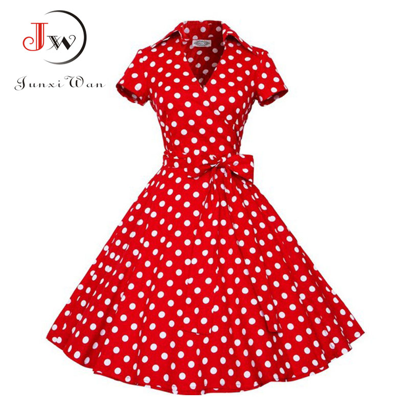 Audrey Hepburn Summer Dress Women Polka Dot Vintage Swing Robe Rockabilly Housewife Retro 50s Pinup Dresses Vestidos