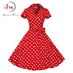 Image 1 - Summer Dress Women Polka Dot Vintage Swing Robe Rockabilly Housewife Retro 50s Pinup Cotton Mini Sundress Vestidos