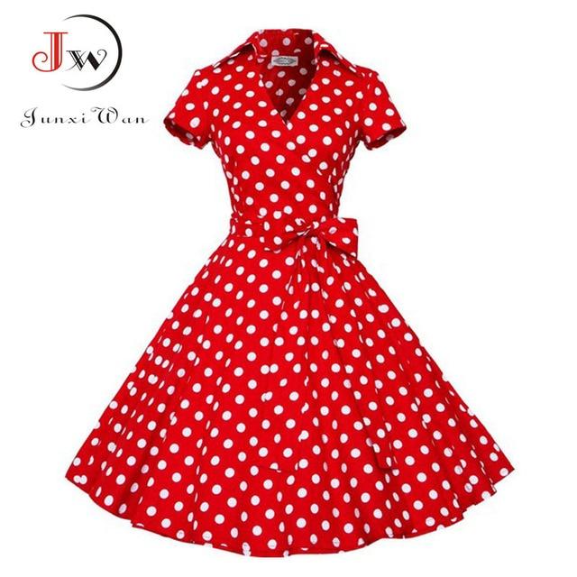 Summer Dress Women Polka Dot Vintage Swing Robe Rockabilly Housewife Retro 50s Pinup Cotton Mini Sundress Vestidos