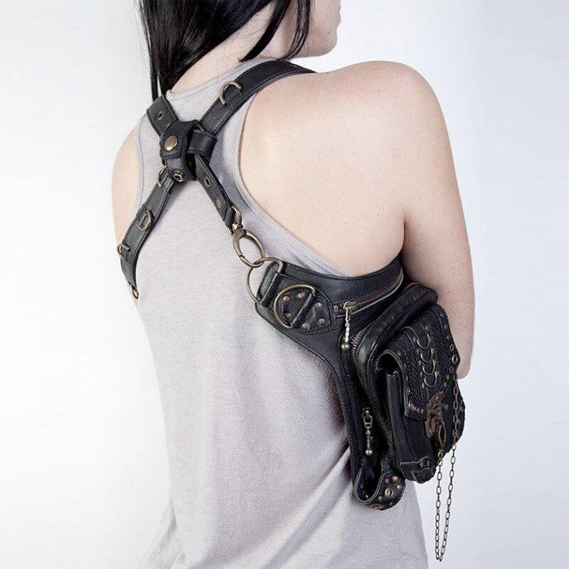 En Jambe Femmes Packs De Épaule Messenger Mode Cuir Taille Punk Sac Vapeur Gothique Hommes w4wqOr