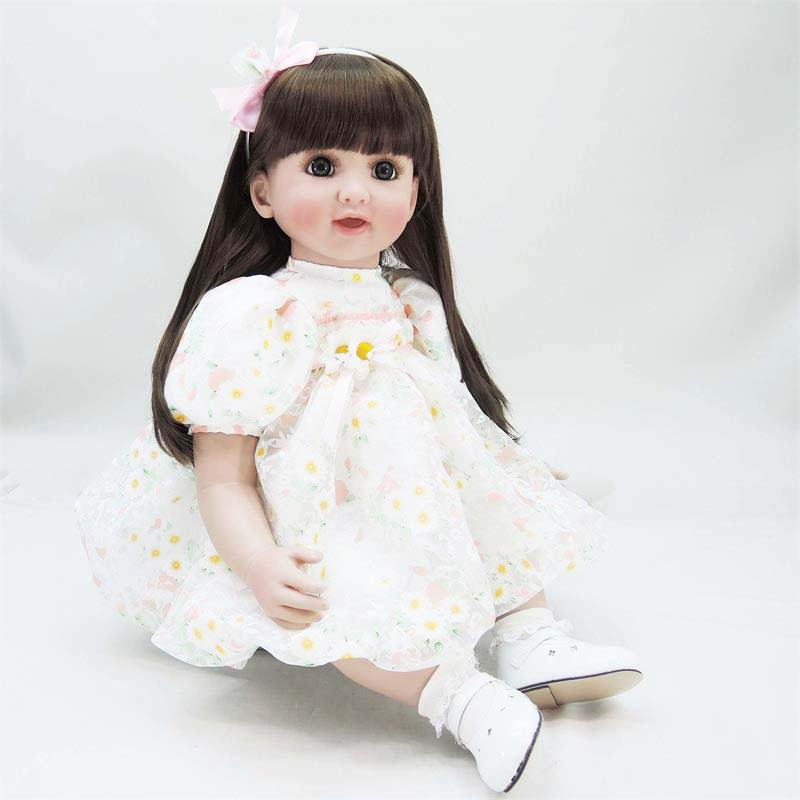 22-inch Soft Body Lovely Play Doll Reborn Toddler Doll Girl Vinyl Soft Lifelike Babies Toys Long Hair Baby Alive Real Doll