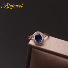 Ajojewel Zirconium Women Wedding Ring Blue Oval Stone Rings High Quality Fashion Finger Jewelry