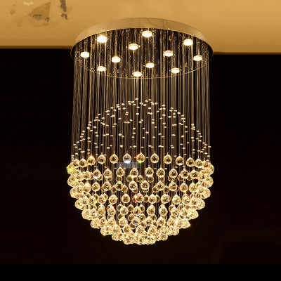 LED Round Chandelier Crystal Lighting Globular Luxury Design for Indoor Deco Dining Room Living Room Hotel Study Bar