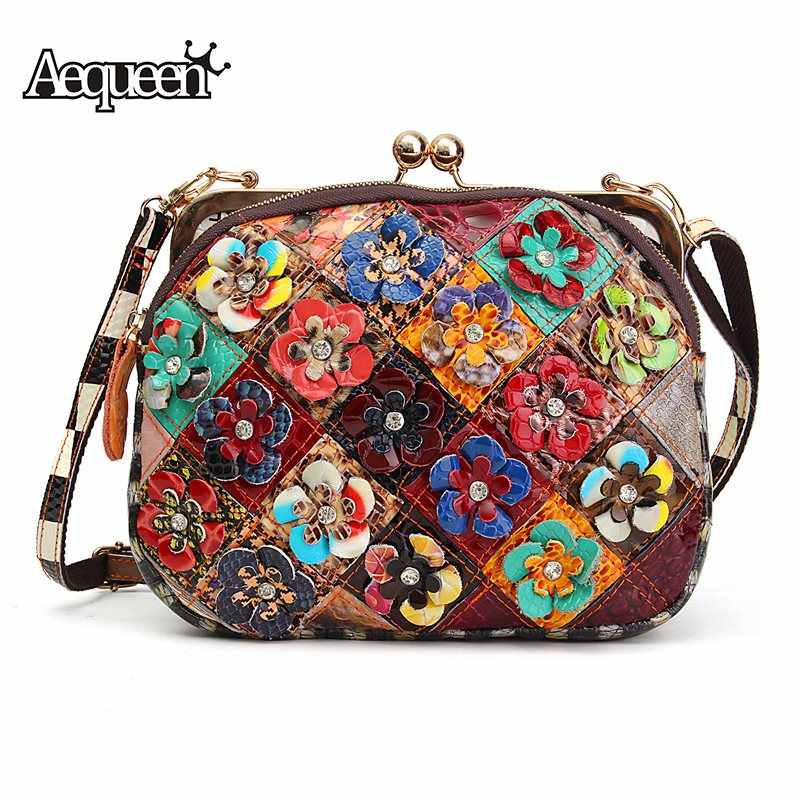 dd66a611cc09 AEQUEEN Ladies Genuine Leather Shoulder Bags Women s Bag 3D Flower  Patchwork Evening Cultch Purses Small Cross