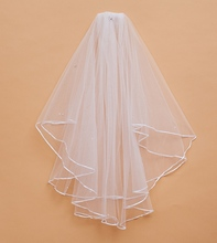 Real Pictures Wedding Veil Bridal Veil comb Bridal Accessories Bridal Veils Women Ribbon Edge Two Layer Tulle Ruffles Hot sale