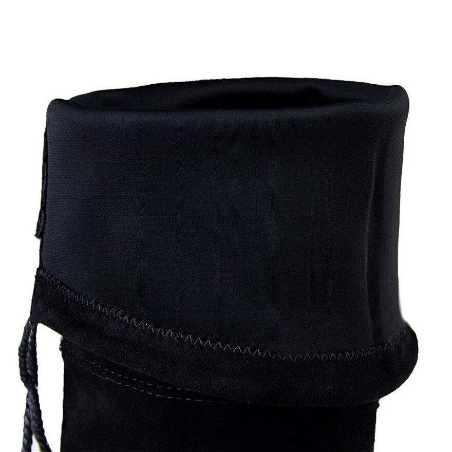 Mode Short Mince black Spectacle Sexy Solide Bout Nouveau Noir Plush Black 2018 Cotton De Cm Talons Long Femmes 7 Genou Pointu Hauts Bottes Le Sur Fabric Automne tTwpn4
