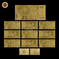 WR Birthday Gift Ideas  Thailand Gold Banknote Hot Sale Quality Art Crafts 50 Baht Bill Not for Bhumibol Adulyadej Memory