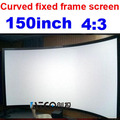 Free shipping 4:3 150 inch Large screen Full HD Curved Fixed Frame Projection projector Screen on sale