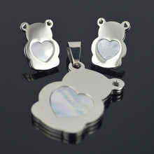 SS018 Silver Natural Shell Love Heart Teddy Bear Stainless Steel Earring Studs Pendant Necklace Bear Jewelry