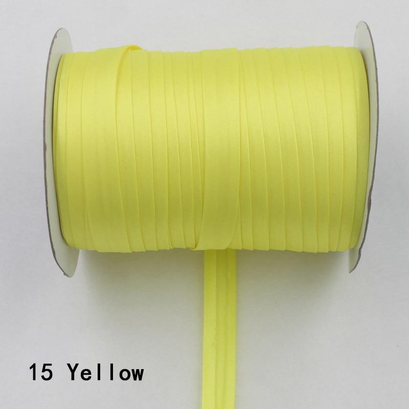 """100 ярд полиэстер 5/""""(15 мм) атласная косая лента косая Привязка сплошной цвет для пошив одежды «сделай сам» и обрезки - Цвет: 15    yellow"""