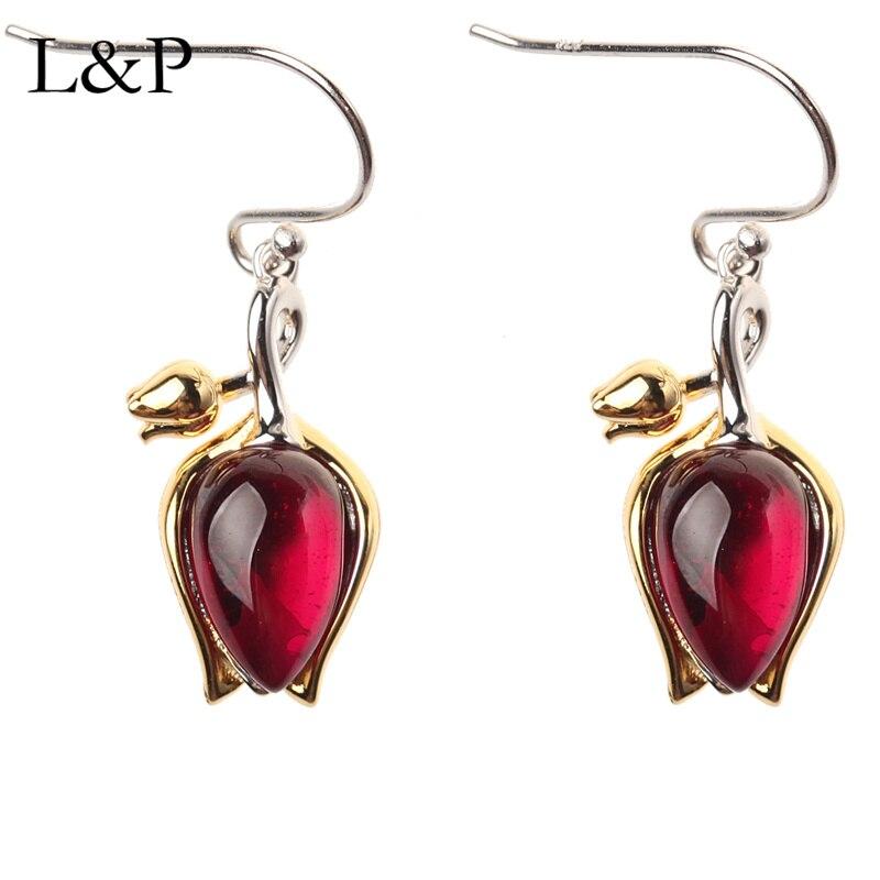 2019 nouvelle mode réel 925 argent pierres précieuses grenat pendentif collier boucle d'oreille et bague ensemble élégant tulipe mariage bijoux cadeau