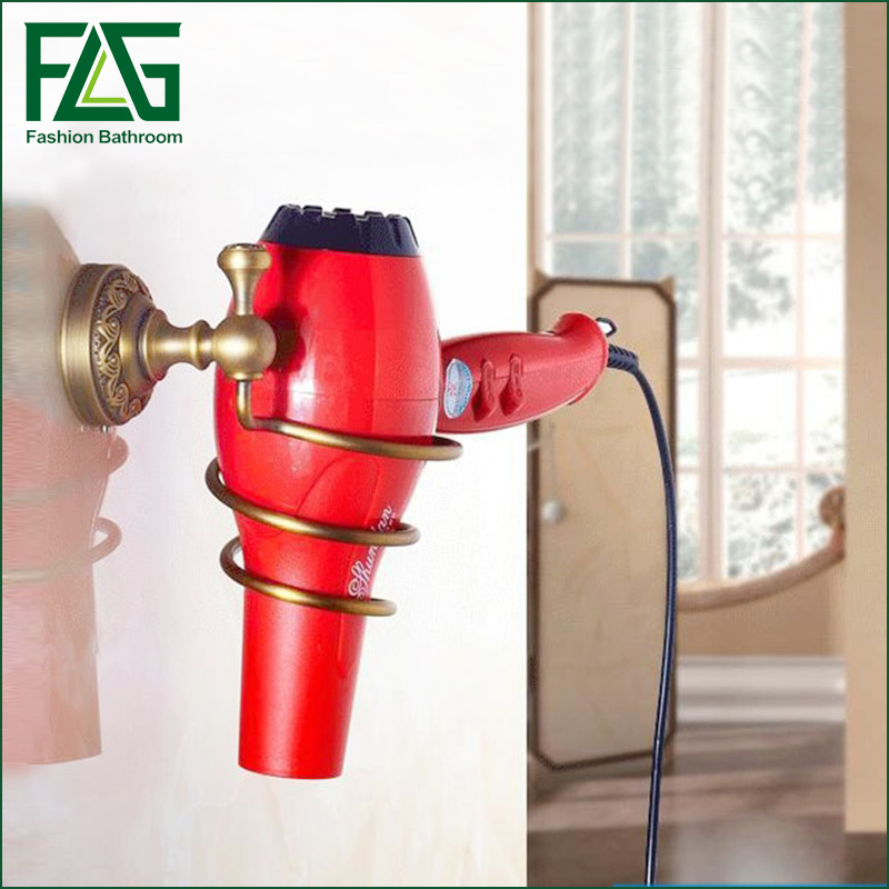 2016 Decoration Bathroom Accessories Antique Brass Hair Dryer Rack, Bolt Inserting Type Storage Hair Dryer Holder Shelf image