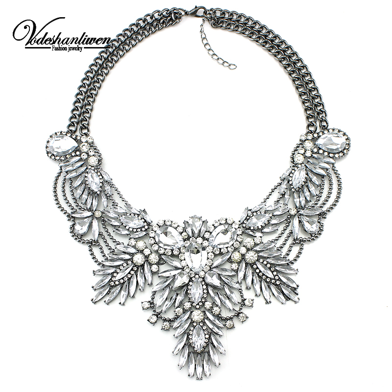 2016 Luxury Color Crystal Bridal Collar Necklace S & Pendants Fashion Women Rhinestone Wedding Maxi Statement Necklace