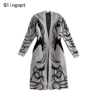 Qlingopt vrouwen lange cardigant jassen 2017 winter grijs sexy lady gebreide trui jumper herfst lange mouw truien jersey mujer