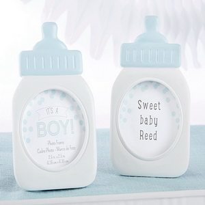 FREE SHIPPING(10pcs/Lot)+Its a Boy!Classic Blue Baby Bottle Photo Frame Baby Birthday Party Decoration Table Name Card Holder