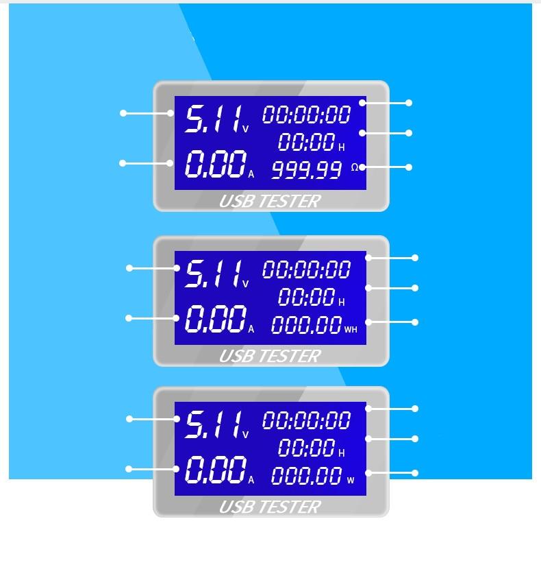 9/10 in 1 DC USB Tester Current 4-30V Voltage Meter Timing Ammeter Digital Monitor Cut-off Power Indicator Bank Charger 40%off