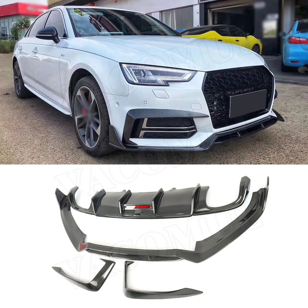 For Audi A4 S4 B9 2016 2017 2018 2019 Car Racing Carbon Fiber Front Eyebrow Cover Rear Bumper Lip Diffuser Spoiler Body Kits