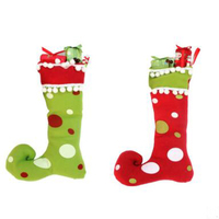 2017 Best Quality 1pcs Christmas Stockings Socks Ornament Gift Boots Hanging Christmas Tree Pendant Candy Box