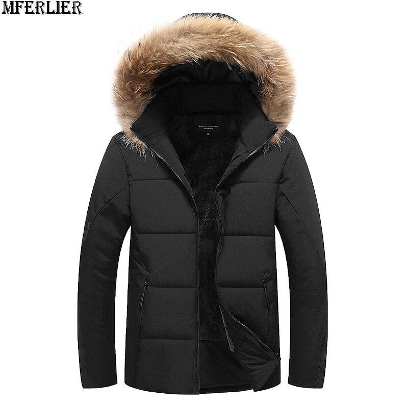 Mferlier 겨울 남성 파카 재킷 두꺼운 양털 후드 5xl 8xl 따뜻한 플러스 대형 빅 아웃웨어 코트 6xl 9xl 남자 루스 파커 52-에서파카부터 남성 의류 의  그룹 2