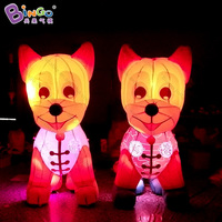 Chinese New Year 2 Meters high big inflatable dog customized decorative LED lighting air blown dog toy sports