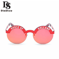 DIMSHOW 2017 New Summer Brand Designer House Of Holland Letter So Real Sunglass Woman Retro True