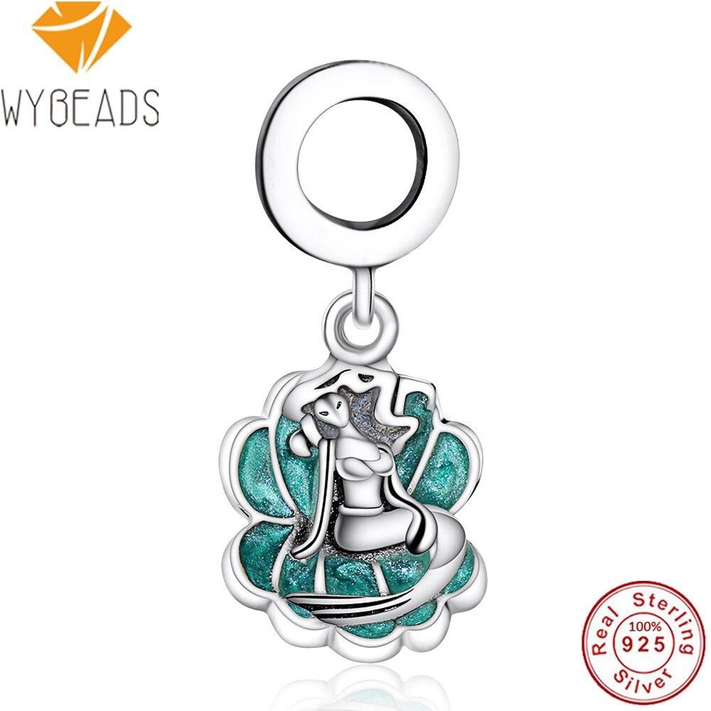 WYBEADS 925 Sterling Silver Ariel & Sea Shell Charms Seafoam Enamel Pendant European Bead Fit Bracelet DIY Accessories Jewelry