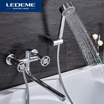 Baterie prysznicowe LEDEME pojedynczy uchwyt długi nosek łazienka baterie prysznicowe bateria do wanny bateria z rączka prysznica zestawy L2289 tanie i dobre opinie Chromowany Zimnej i Ciepłej Podwójny uchwyt podwójna kontrola Współczesna ceramic