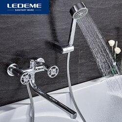 LEDEME Dusche Armaturen Einzigen griff Lange Nase Badezimmer Dusche Armaturen Badewanne Wasserhahn Mischbatterie Mit Hand Dusche Sets L2289