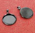 Blank Pendant Base Round Curved Bezel Tray w/ Bail Settings Findings for Magnifying Glass Cabochon Stickers Gunmetal Black tone