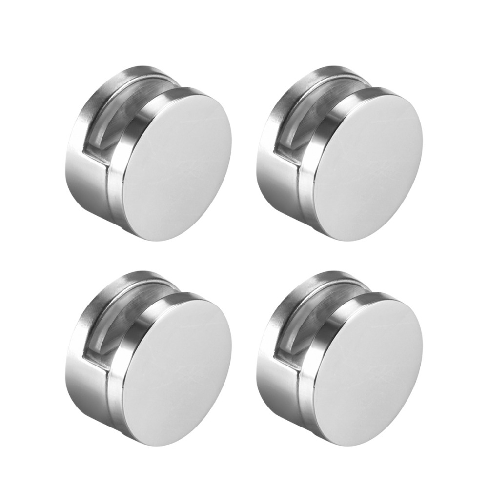 Uxcell 4pcs High Quality Round Glass Clips Clamps Mirror Clips Holder For 3-5mm 6-7mm Thick Mirror Bright Chrome Zinc Alloy