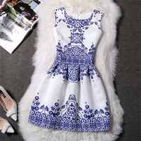 Vestido de verano jacquard estampado vintage sin mangas 2