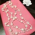 XL33 CC ювелирные изделия 2015 люкс известная марка длинный Свитер цепи перлы колареш кольер bijoux ожерелье collares mujer перл для женщин