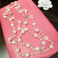 XL33 CC joyería 2015 de lujo de marca famosa cadena Suéter largo perla colares collier collar collares mujer perle bijoux para las mujeres