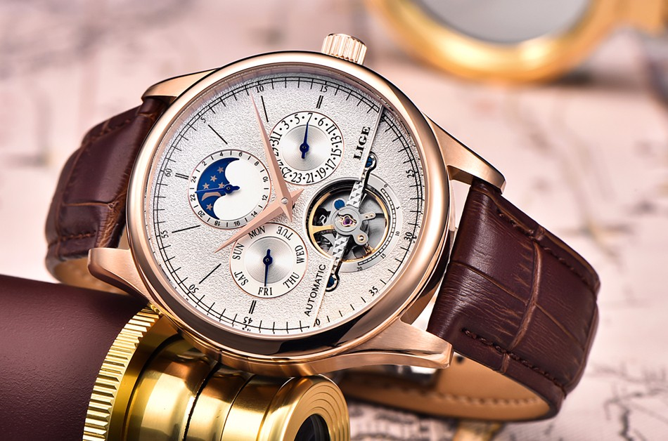 relógio mecânico tourbillon esporte relógio de couro