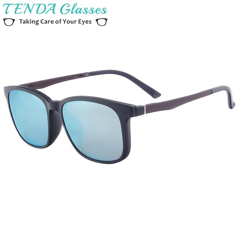 男性TR90軽量フルリムメガネ女性スクエア磁気偏光クリップサングラス用近視多焦点レンズ
