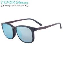 Men TR90 Lightweight Full Rim Glasses Women Square Magnetic Polarized Clip On Sunglasses For Myopia Multifocal Lens