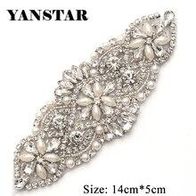YANSTAR1(PCS) Hand Bridal Sash Beaded Rose Gold Crystal Rhinestone Applique  Patch Sewing On For Wedding Dresses Belt YS848 9c61db39980a